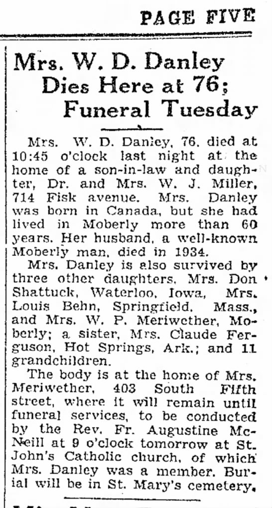 Anna Danley obituary in Moberly Monitor-Index of 12/4/1939 - PAGE FIVE San in the later give They became . ....