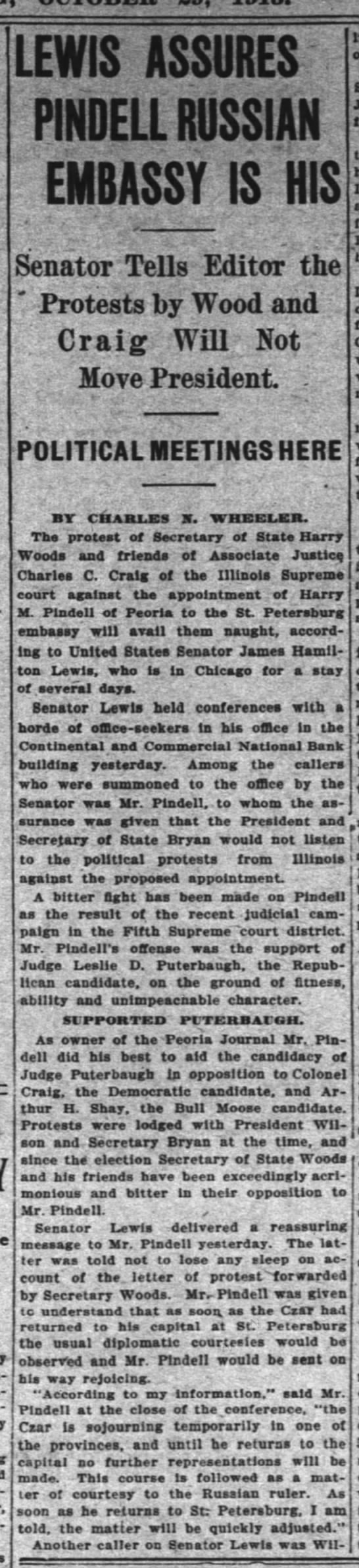 1913.10.29 Craig supports Puterbaugh - ' LEWIS ASSURES PlilDELL RUSSIA!! EMBASSY IS MS...
