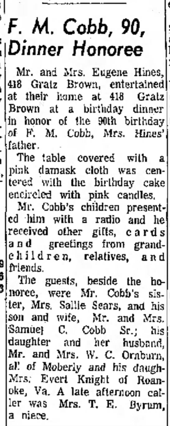 Frank M. Cobb 90th birthday - was on by from St F. M. Cobb, 90, Dinner...