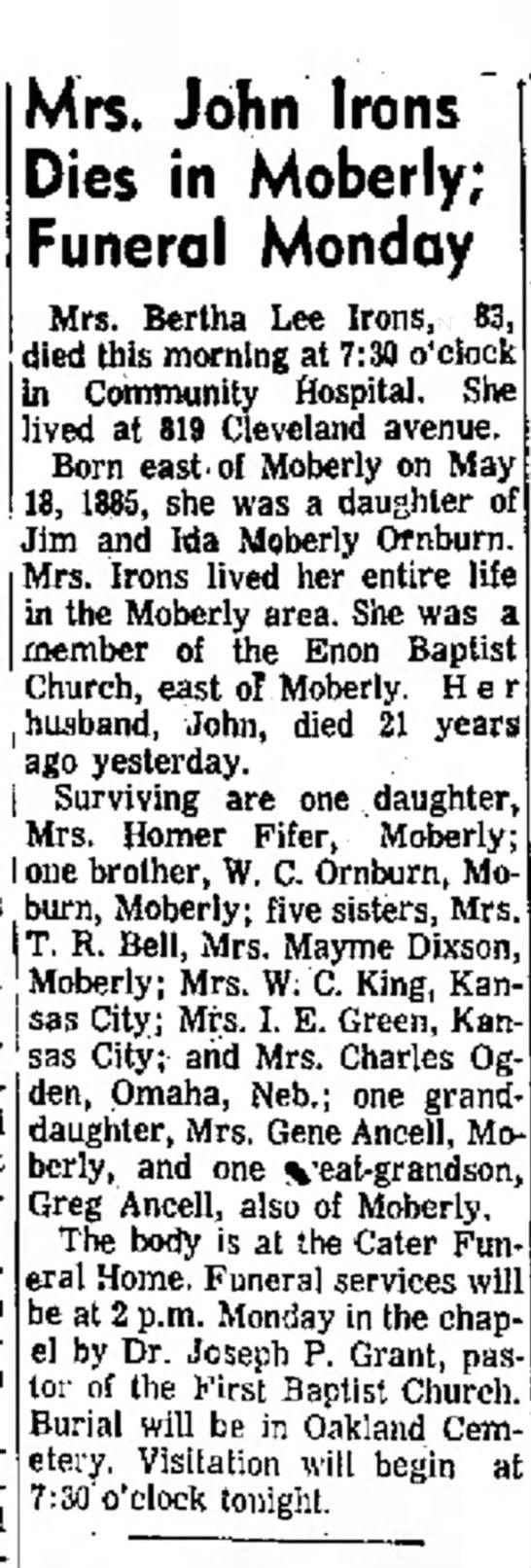 W.C. Ornburn's sistr Bertha dies at 83 - Ander- Mrs. John Irons Dies in Moberly; Funeral...