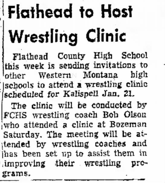 """- to """"It Flathead to Host Wrestling Clinic..."""
