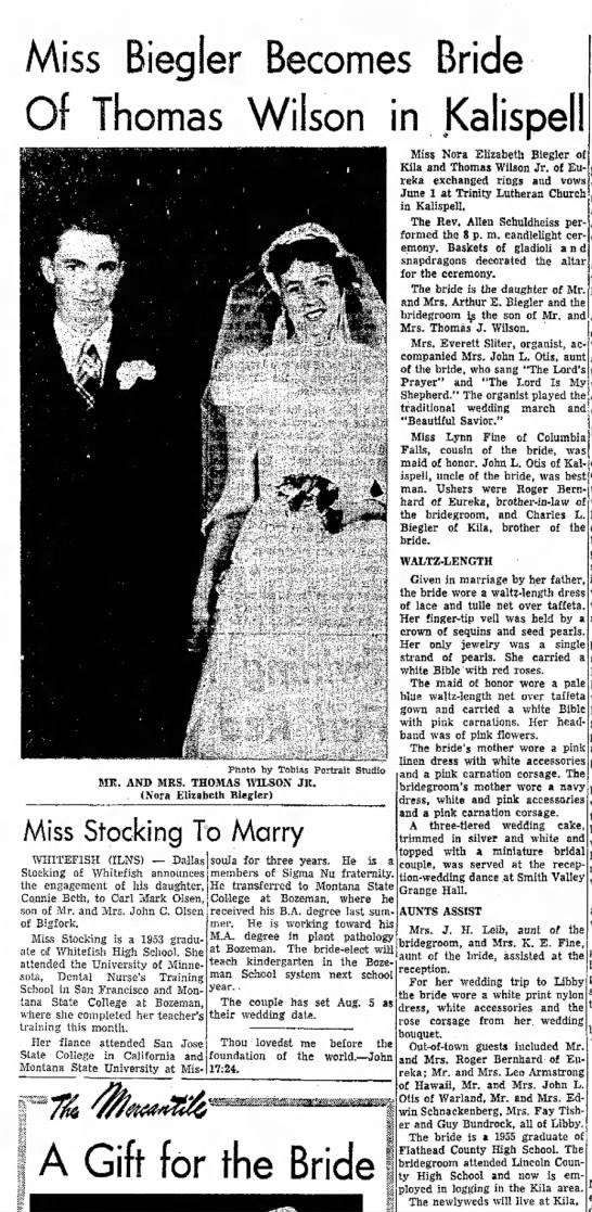 Miss Biegler Becomes Bride of Thomas Wilson in Kalispell