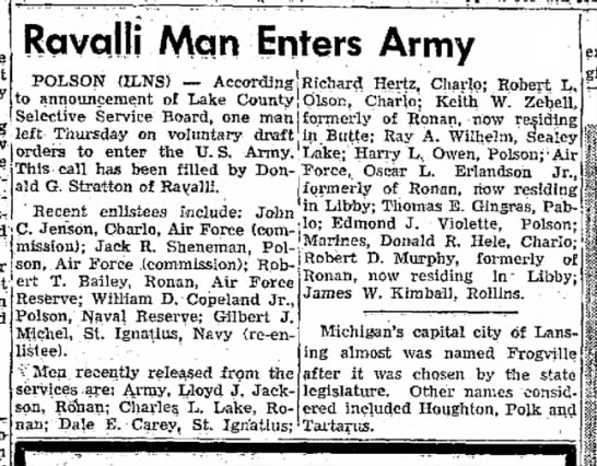 September 9, 1956  Daily Inter Lake Newspaper - The at Ravqllj Man Enters Army POLSON (ILNS) --...