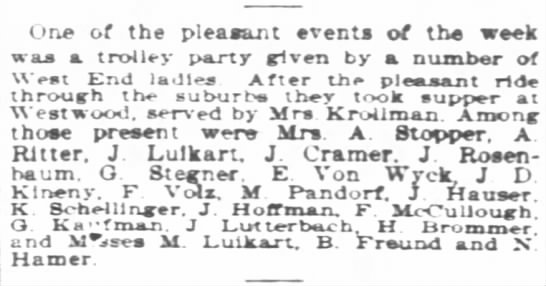 Social event for Von Wyck 25 Aug 1901 Enq - One of the pleasant events of the week was a...