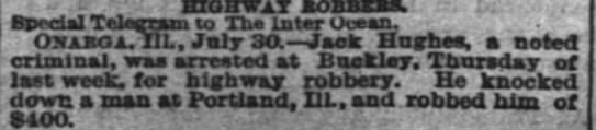 Jack Hughes arrested for highway robbery