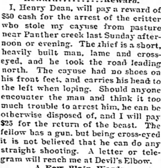 - I, Henry Dean, will pay a reward of $50 cash...
