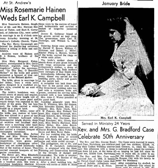 Hainen/Campbell - Mulberry late At St. Andrew's Miss Rosemarie...