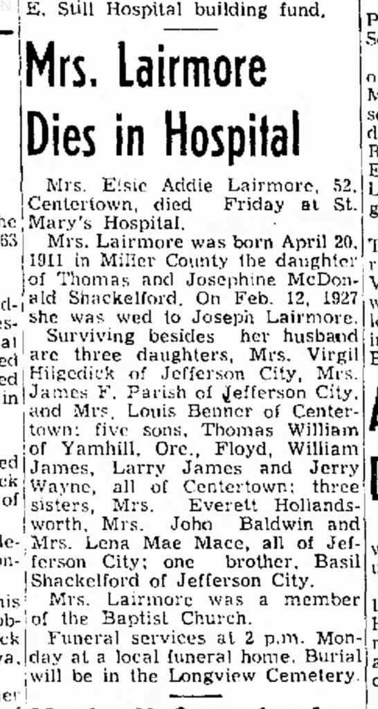 elsie lairmore obit - E. Still Hospital building fund. [Mary's...