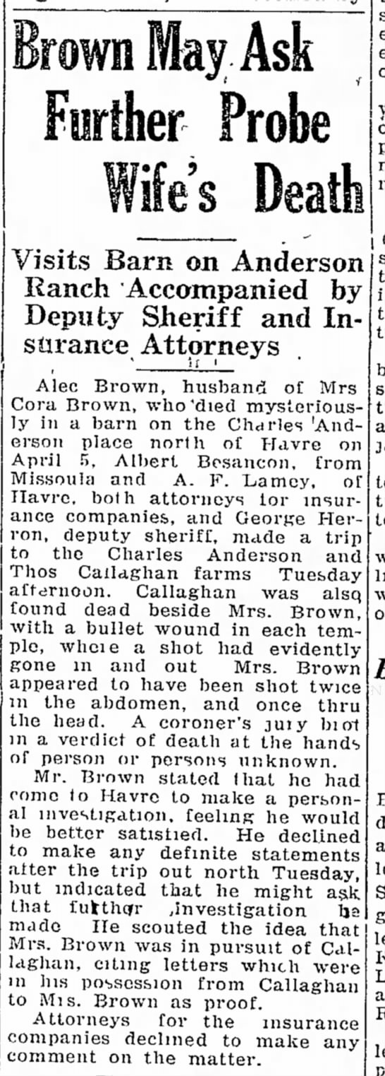 Charles Anderson barn visited by Mr. Brown - Havre Daily News - 17 Apr 1930 - definitely of committee s group system h a n...