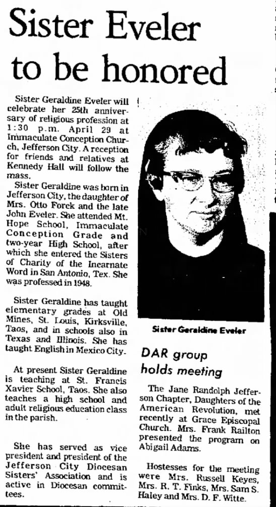 Sister Geris 25th - of on on Sister Eveler to be honored Sister...