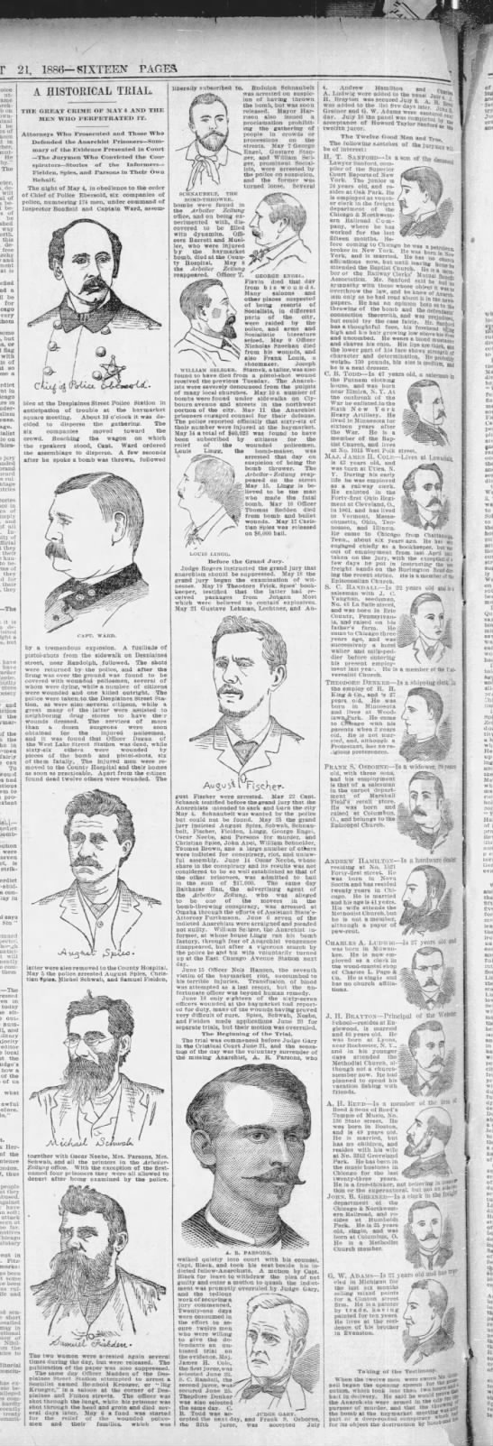 Drawings of some of the men involved in the Haymarket bombing trial, including the 8 defendants - utmost name arch-- arch-- arch-- on be of in...