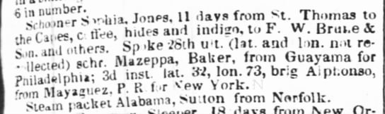 Guayama trade march 1841 - 6 in number. 11 days from t. Thomas to indigo,...