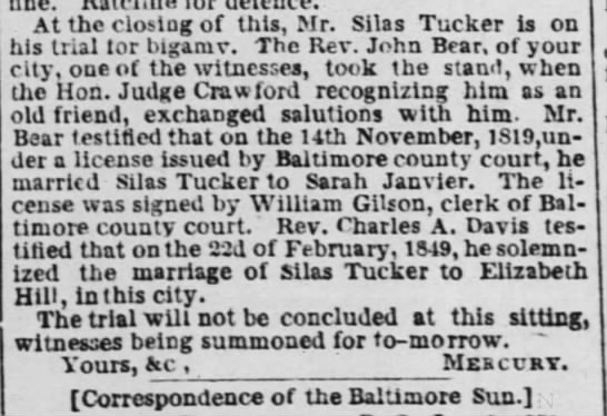 Sarah Tucker 4 Jan 1853 - nne. At the closing of this, Mr. Silas Tucker...