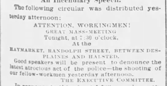 Text of a circular meant to draw protesters to Haymarket Square - The following circular was distributed...