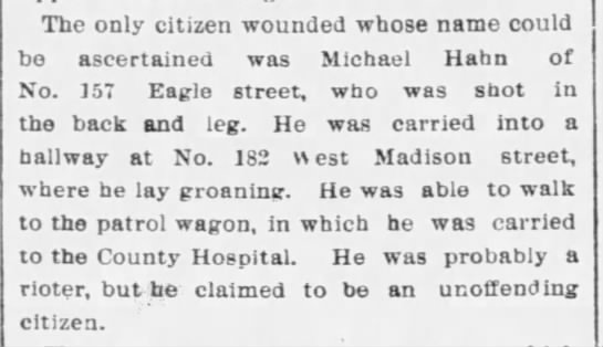 One of the citizens wounded in Haymarket Riot - The only citizen wounded whose name could bo...