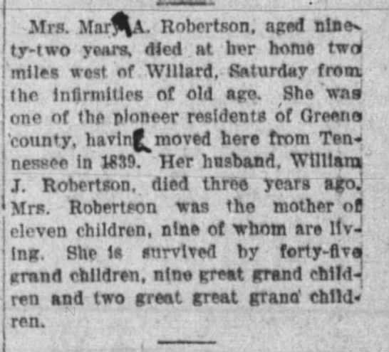 Obituary of Mary Ann (Lotspeich) Robertson - Mrs. MarA, Robertson, aged nine, ty-two ty-two...