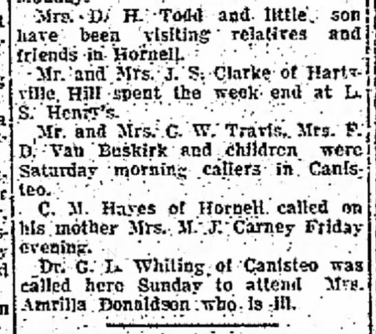 "CM Hayes called on his mother Mrs. M. J. Carney October 1923 - at Harts- fami;? .and ' . "" ' and son · Mrs:-D..."