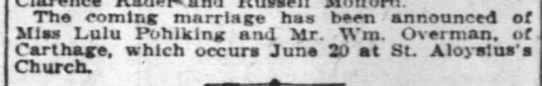 Pohlking 3 Jun 1906 - The coming marriage has bee-n bee-n bee-n...