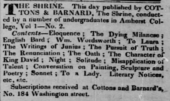 Amherst College -The Shrine monthly magazine - HE SHRINE. This day published by COTTONS...