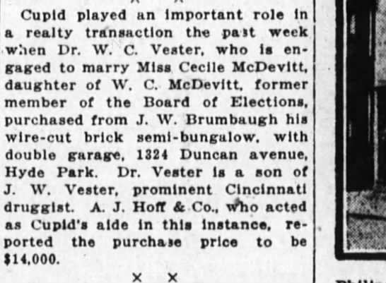 McDevitt-Vester Real estate purchase 5Aug1923 - Cupid played an Important role In a realty...
