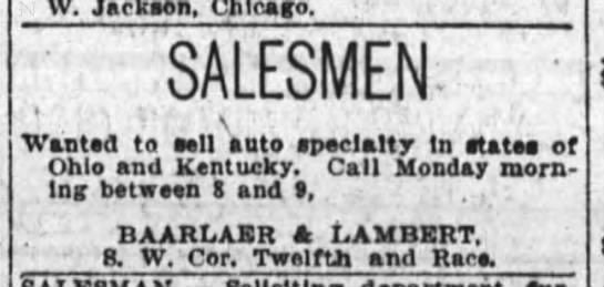 1923 oct 7 baarlaer and lambert sales - W. Jackson, Chicago. SALESMEN- Wantsd to sell...