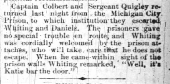 james quigley srgt 20 June 1885 indy news  - 1 ICaptaiu Colliert and Sergeant Quigley...