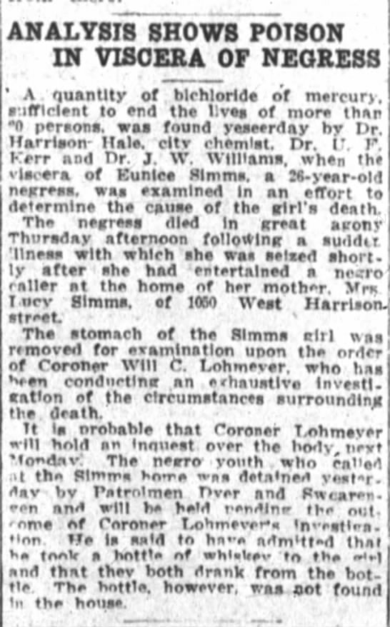 Emma Simms Poisoning( Eunice) - ANALYSIS SHOWS POISON IN VISCERA OF NEGRESS ' A...