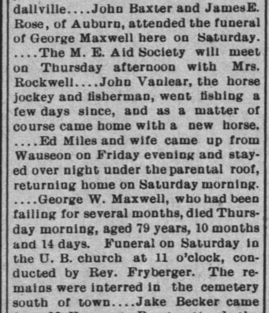 MAXWELL, George W obit - dallville John Baxter and JamesE. Rose, of...