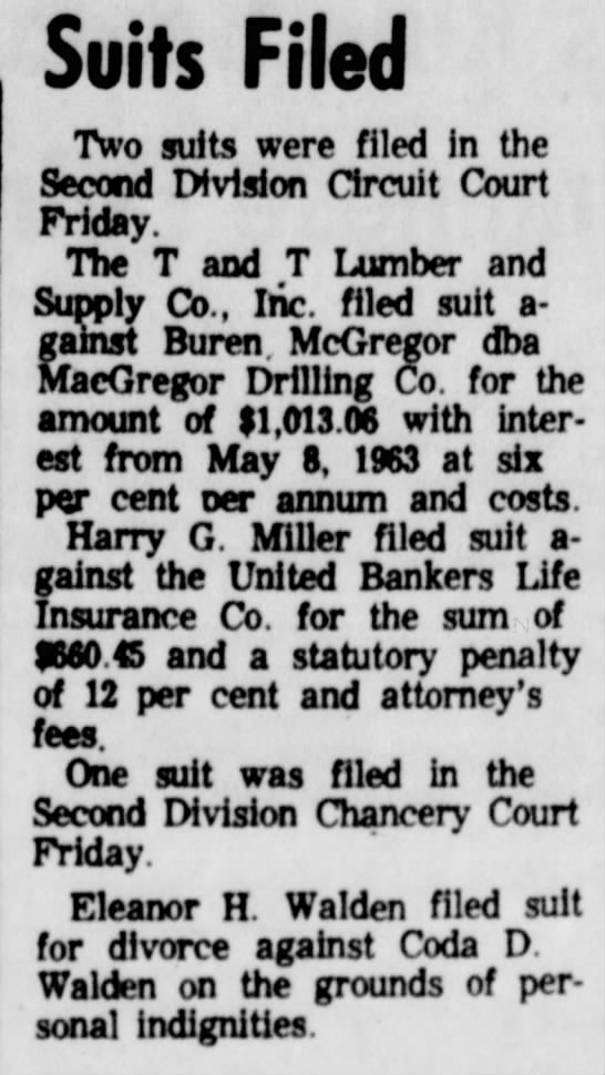 Miller - Suits Filed Two suits were filed In the Second...