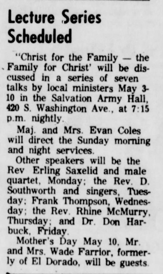 "Mrs. Wade Farrior, May 1964 - Lecture Series Scheduled ""Christ for the Family..."