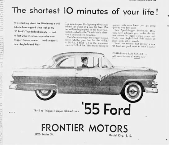 '55 Ford Thunderbird  ad - was from place an it Hersh-field to next...