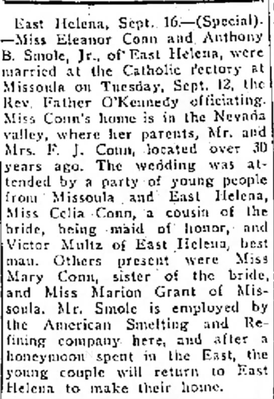 Nora Conn Smole's Wedding - East Helena, Sept. 1G.— (Special). —Miss...