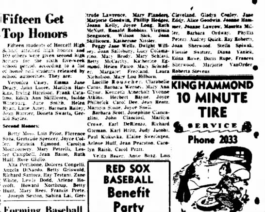 Anne Boag HHS honor roll May 1949 - Fifteen Get Top Honors Fifteen students of...