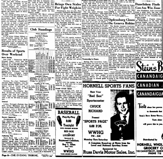 19490711 The Evening Tribune (Hornell, New York) Monday, July 11, 1949 p8 CLIP - The Sox plav second division l^ em ~ had bltm...