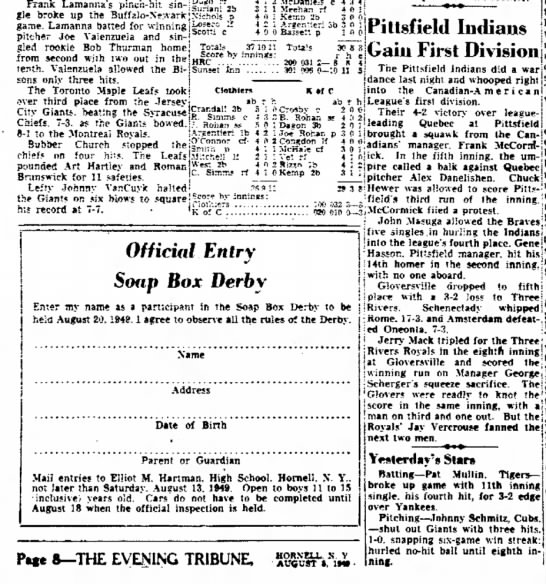19490805 The Evening Tribune (Hornell, New York) Friday, August 5, 1949 p8 CLIP - gle game. pitcher Joe gied roofcie Pillsfield...