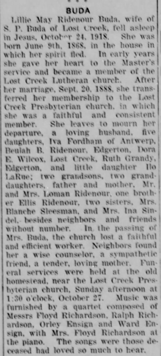 Lillie May Ridenour Buda Obit - BUDA l.illio Mav Ridoiionr Huda. wife of S. !...