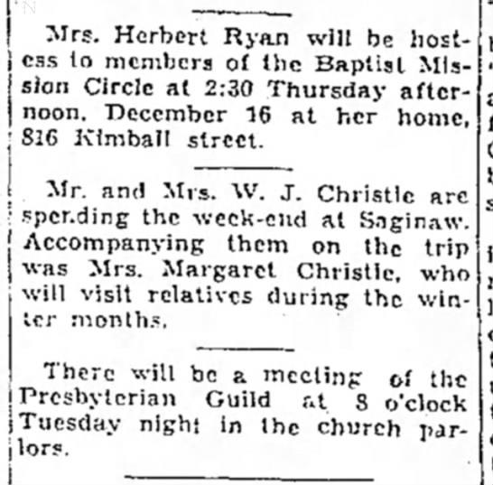 - Mrs. Herbert Ryan will be hostess to members of...