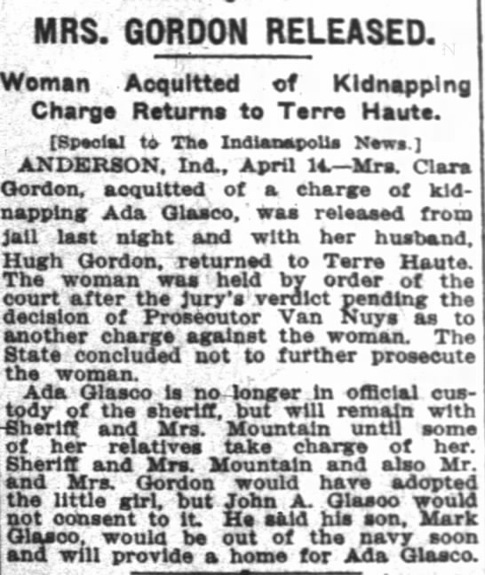 clara released - MRS. GORDON RELEASED. Th woman waa held court...