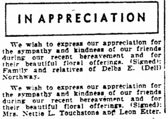 "1948-04-21 ETTER LEON APPRECIATION - IN APPRECIATION ""We tclah to express our..."
