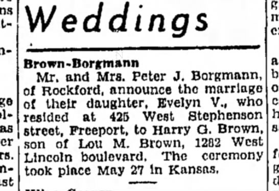 - Weddings Brown-Borffmann Mr. and Mrs. Peter J....