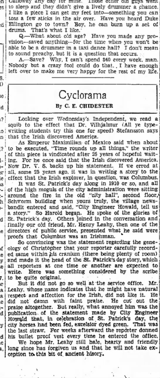 My great-grandfather, Henry Leahy, the ultimate Irishman jokester. - j 10 sleep and they didn't give a lively...