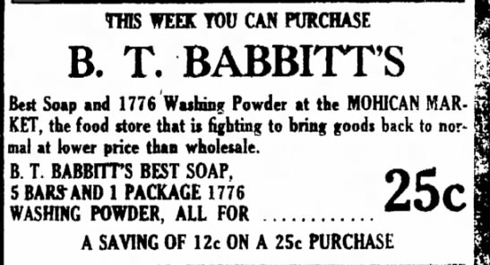 B. T. Babbitt's Advertisement - THIS WEEK TOO CAR PURCHASE B. T. BABBITT'S Beit...