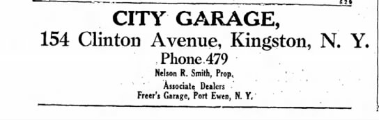 Add for City Garage business at 154 Clinton Ave.  in Kingston Daily Freeman 26 Feb 1930 - CITY GARAGE, 154 Clinton Avenue, Kingston, N....