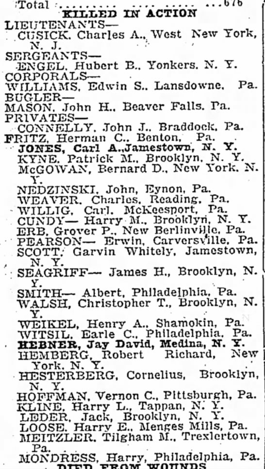 Tilgham M Meitzler of Trexlertown, PA - died in WWI - ,'Total · 676 KIMVEIJ IN ACTION LIEUTENANTS--...