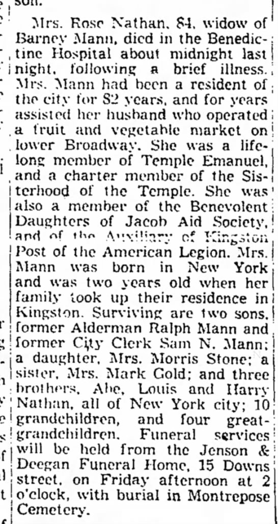 Possible Match for Ralph Mann in Kingston, NY in 1946 - the , son. The · Mrs. Rose Nathan. 84. widow...