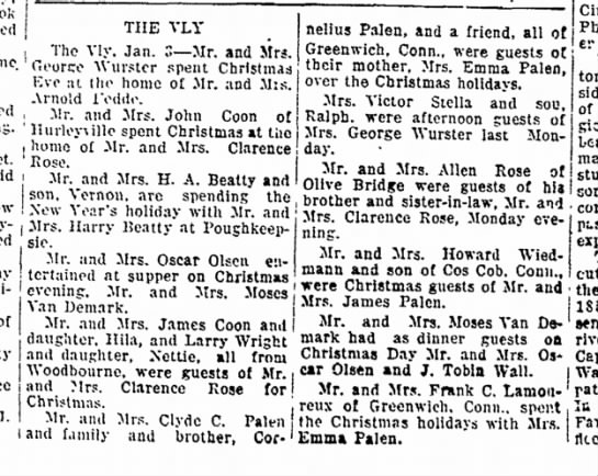 The Vly 3 Jan 1939 - Clarence Rose Sr - home street. Rapid THE VLY The Vly. Jan. 3--Mr....