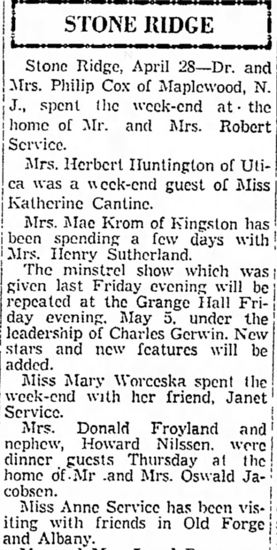 Dr Mrs Philip Cox, Mr Mrs R Service, Mrs H Huntington, K Cantine, Janet Service, Anne Service - STONE J in r j J., spent as | home of '...