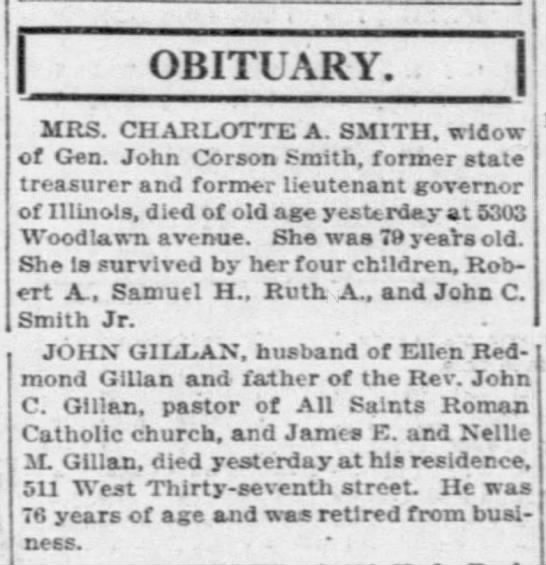 Obit of John Gillen/Gillan - OBITUARY. 11 - MRS. CHARLOTTE A. SMITH. widow...