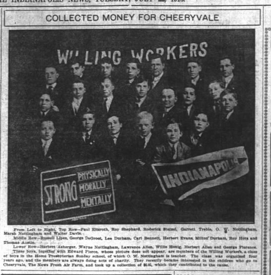 Indianapolis News 22 Jul 1913 pg 4 Marsh, Frank and Otis Nottingham - y r COLLECTED MONEY FOR CHEERYVALE : .From...