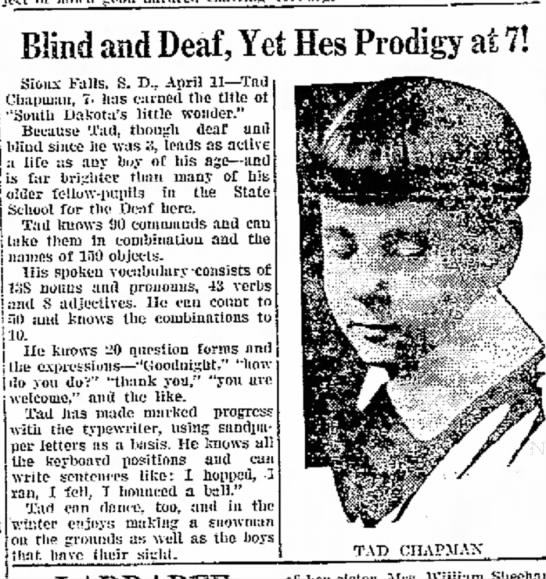 Times Herald (Olean, NY) 4/11/1923 - Blind and Deaf, Yet Hes Prodigy Sioux Falls. S....